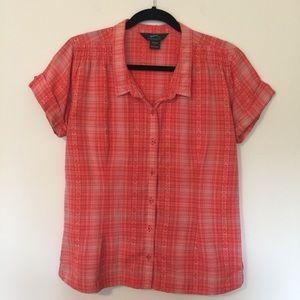 Woolrich | Short Sleeve Orange Plaid Shirt Size L